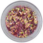 Confetti cu reflexii, 1mm - hexagoane în pulbere roz cu aspect învechit