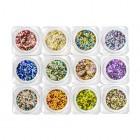 Kit nail art - 12 buc - cercuri în culori metalizate